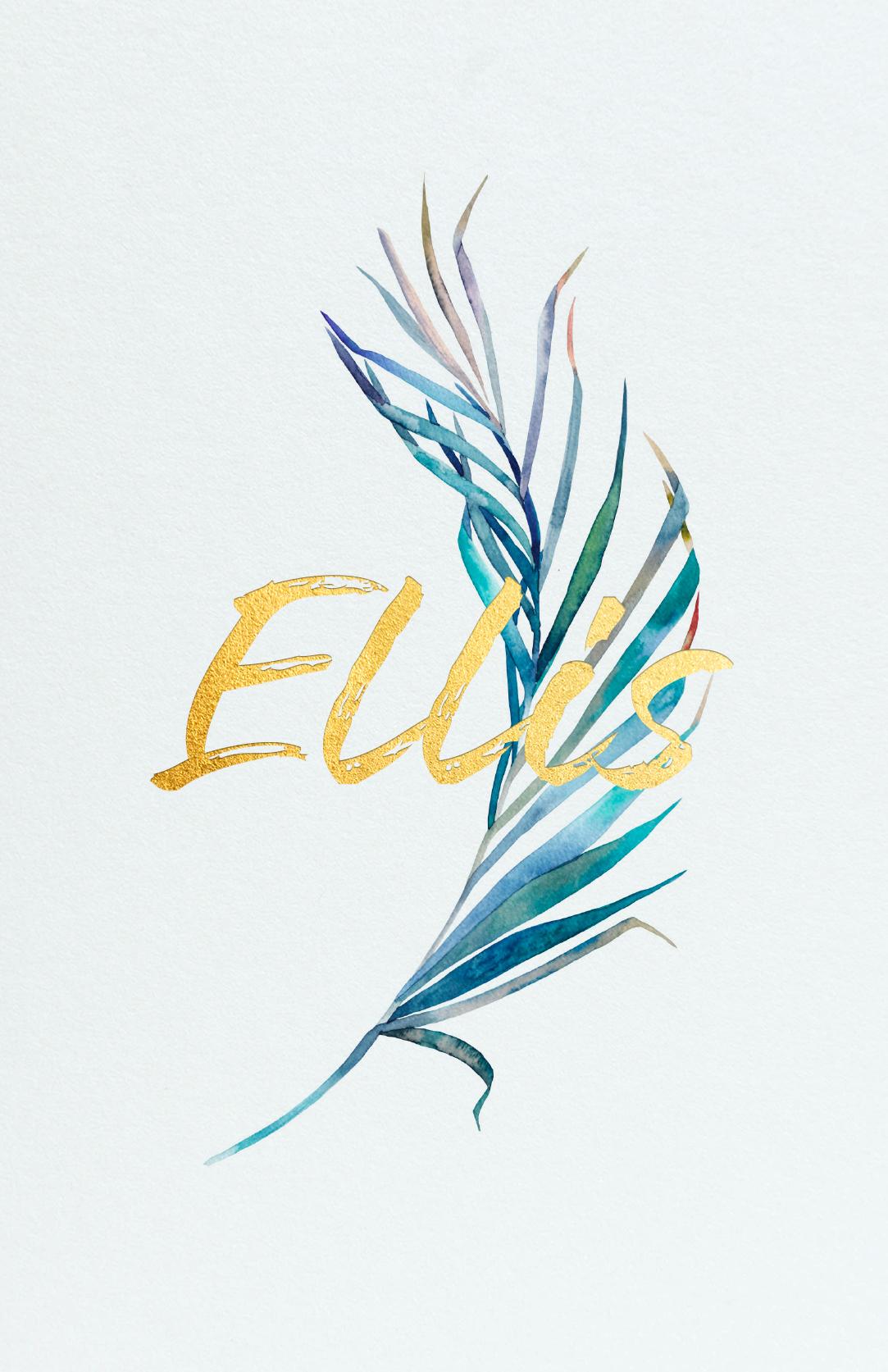 Geboortekaart Lichtblauw Veer Meerkleurig Goudfolie Mat Artistiek Trendy