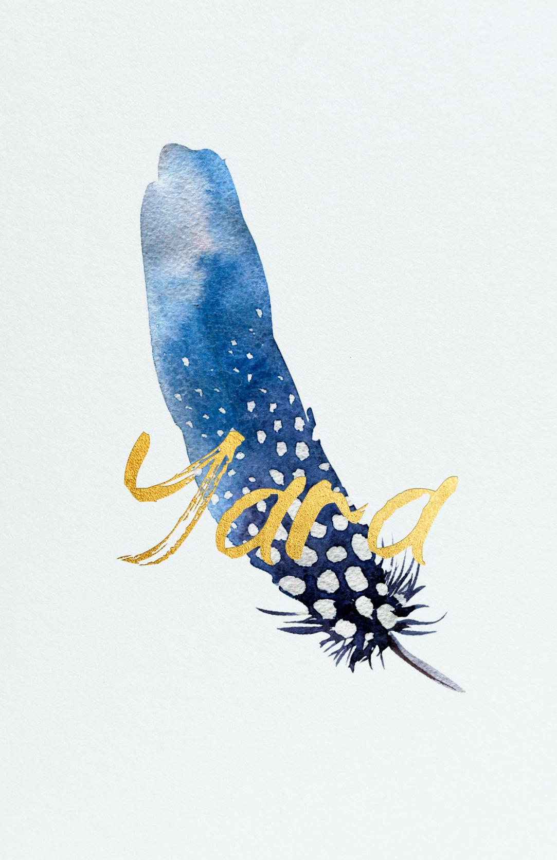 Geboortekaart Lichtblauw Veer Blauw Goudfolie Mat Artistiek