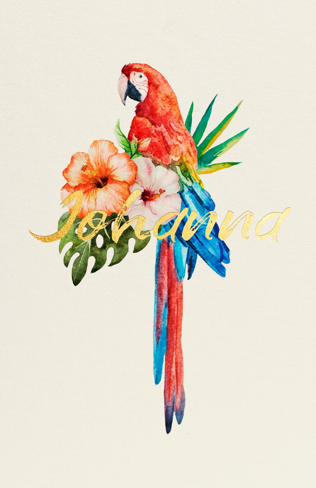 Geboortekaart Tropisch Bloemen Papegaai Goudfolie Glanzend Fleurig