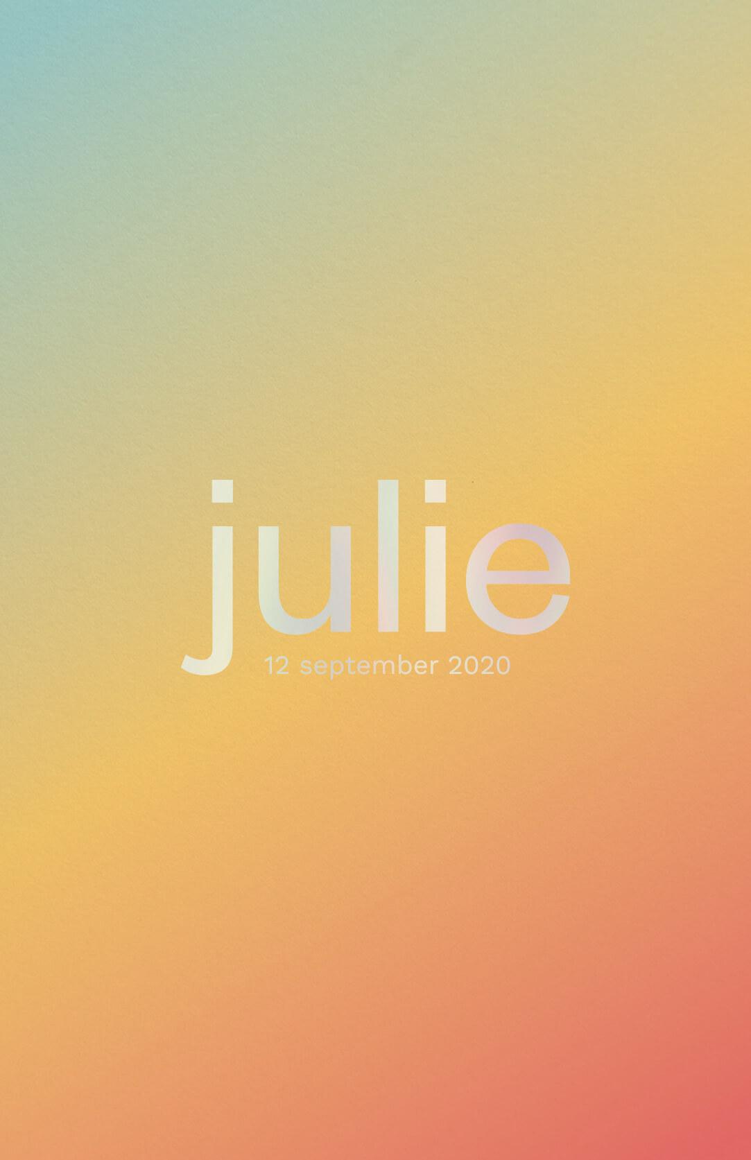 Geboortekaartje Kleurverloop Gradient Lichtlauw Geel Oranje Holografische Folie Trendy
