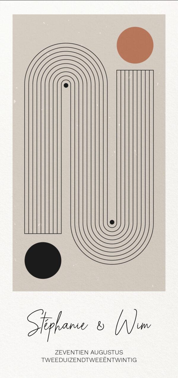 Trouwkaart Boho Bohémien Bohemian Abstract Grafisch Illustratie Warm Artistiek