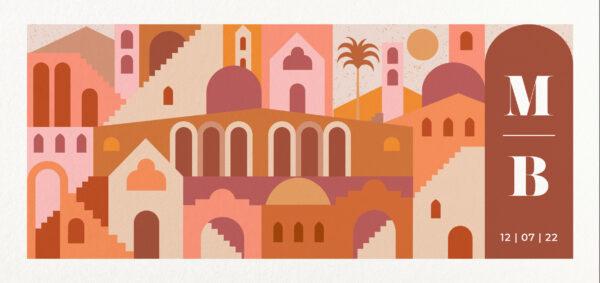 Trouwkaart Stad Midden-Oosten Zuiders Warm Destination Wedding Exotisch