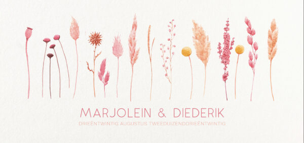 Trouwkaart Warm Wit Boho Floral Bloemen Droogbloemen Romantisch Bohemian Fleurig