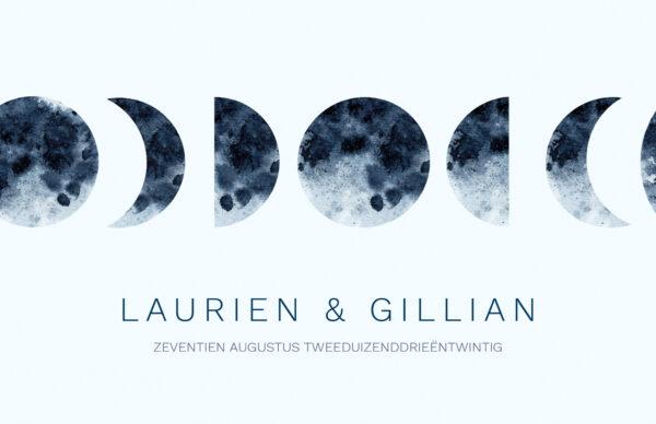 Trouwkaart Lichtblauw Boho Maan Maancyclus Aquarel Waterverf Romantisch Bohemian Sfeervol