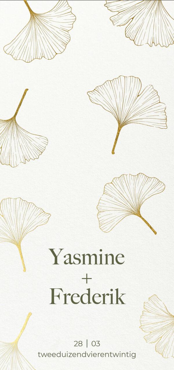 Trouwkaart Botanisch Goudfolie Glanzend Letterpress Ginkgo Bladeren Romantisch