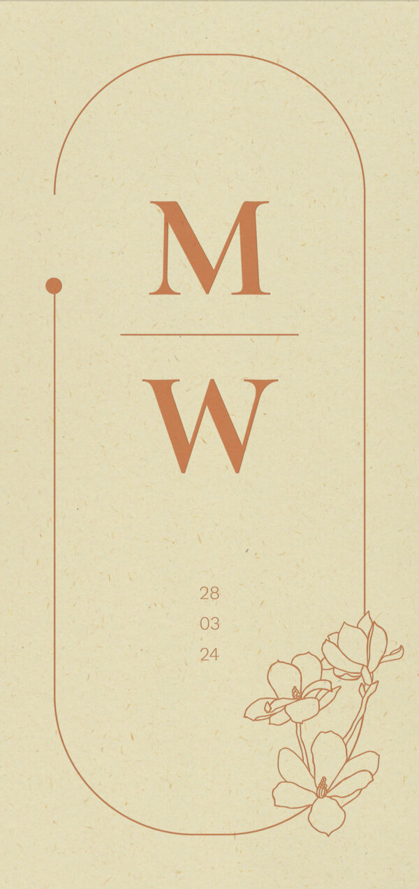 Trouwkaart Botanisch Peach Letterpress Illustratie Flora Gestilleerd Romantisch