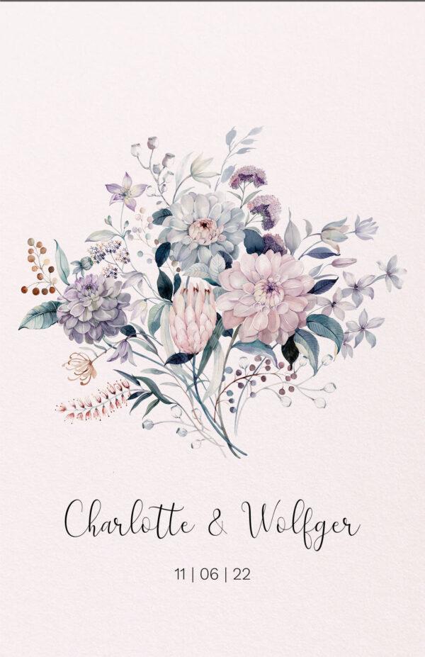 Trouwkaart Botanisch Bloemen Boeket Illustratie Kleurrijk Print Romantisch