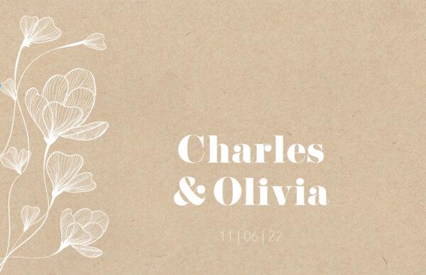 Trouwkaart Botanisch Wit Illustraties Botanicals Bloemen Romantisch