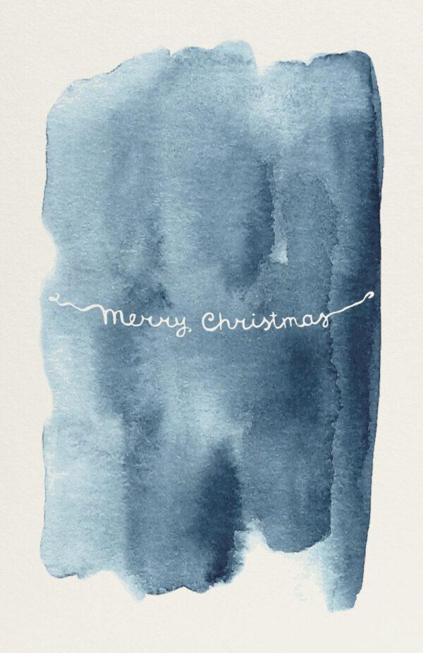 Kerstkaart Aquarel Donkerblauw Merry Christmas Slinger