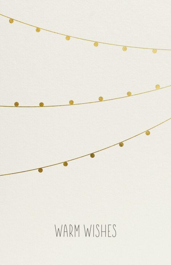 Kerstkaart Lichtslinger Goud Folie Glanzend