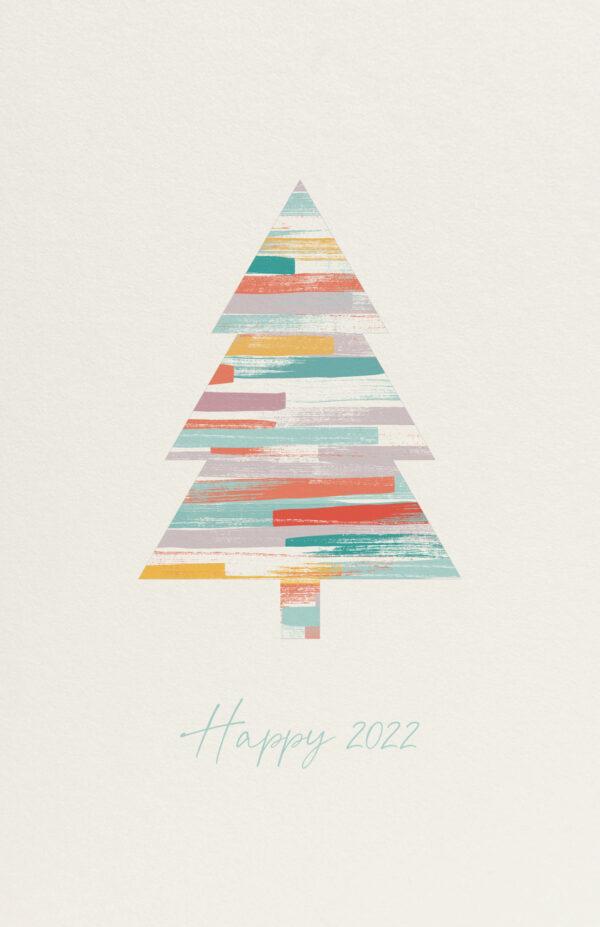 Kerst Kaart Kleurrijk Kerstboom Verf
