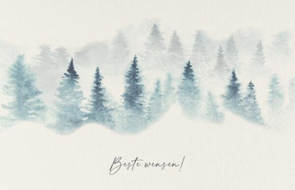 Kerstkaart Winterse Dennenbomen Sneeuw Mist