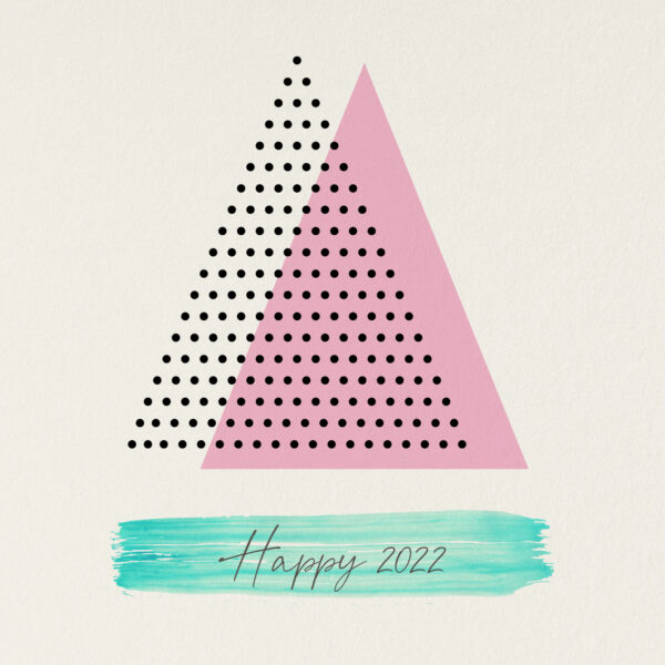 Kerstkaart met driehoeken stippen en verfstreep modern hip