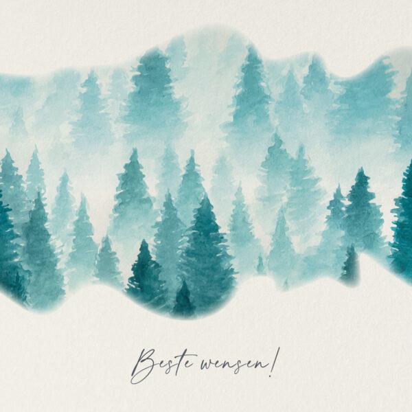 Vierkante Kerstkaart Winterse Dennenbomen Sneeuw Mist