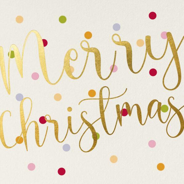 Kerstkaart met kleurrijke stippen & Merry Christmas in Glanzende goudfolie