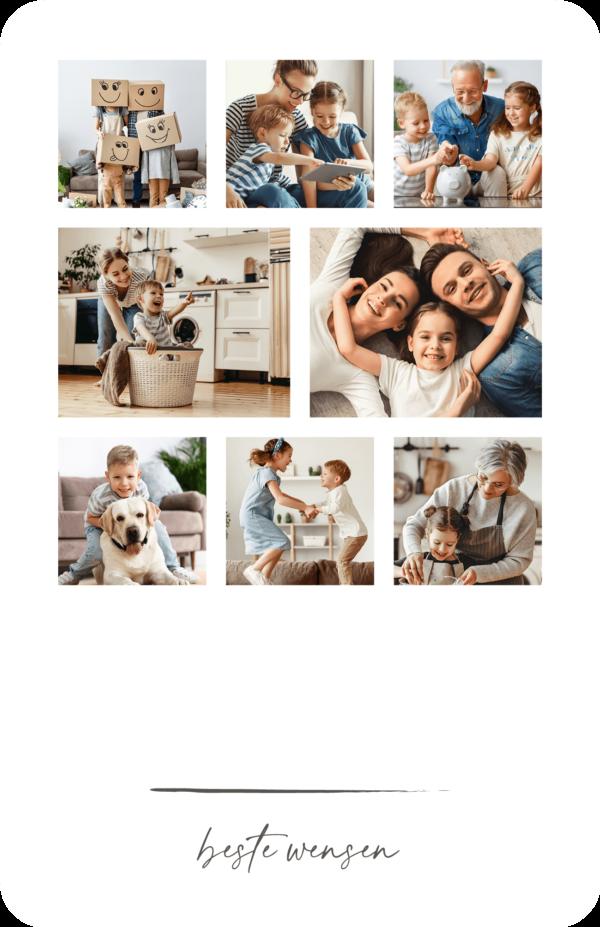 Kerstkaart acht foto's als collage 8 Gezin Familiefoto