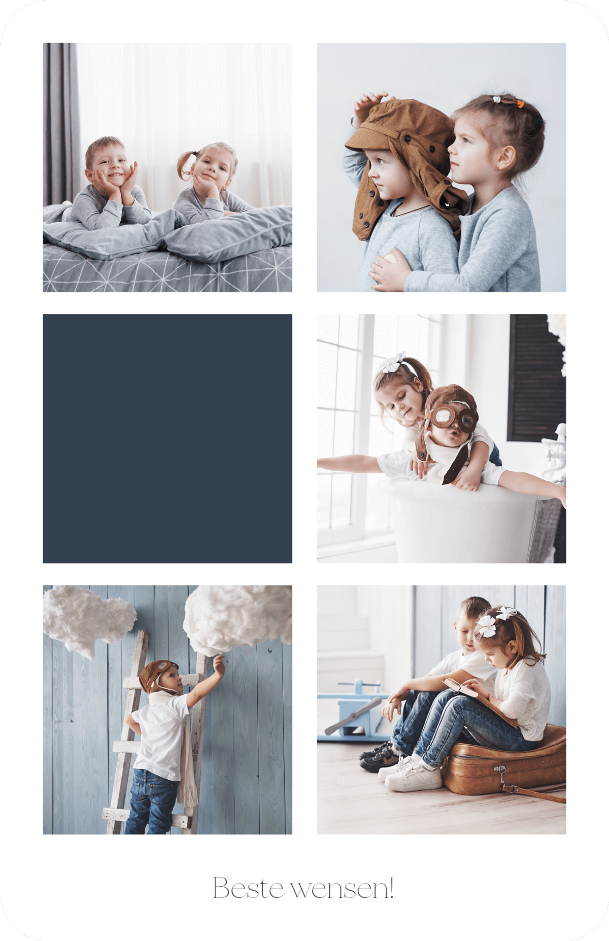 Kerstkaart vijf foto's als collage 5 Gezin Familiefoto