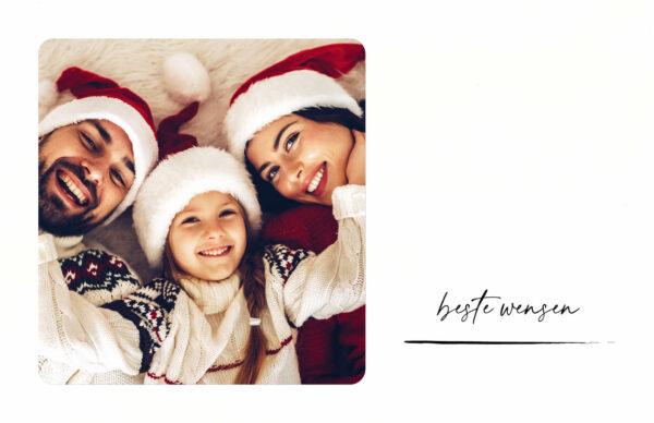 Liggende Kerstkaart met foto & houtskool streep Familie Gezin Kerst