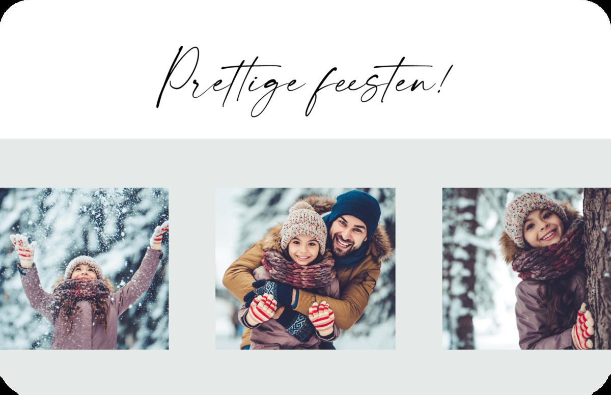 Liggende Kerstkaart Muntgroen met drie foto's op een rij 3 Familie Gezin Kerst