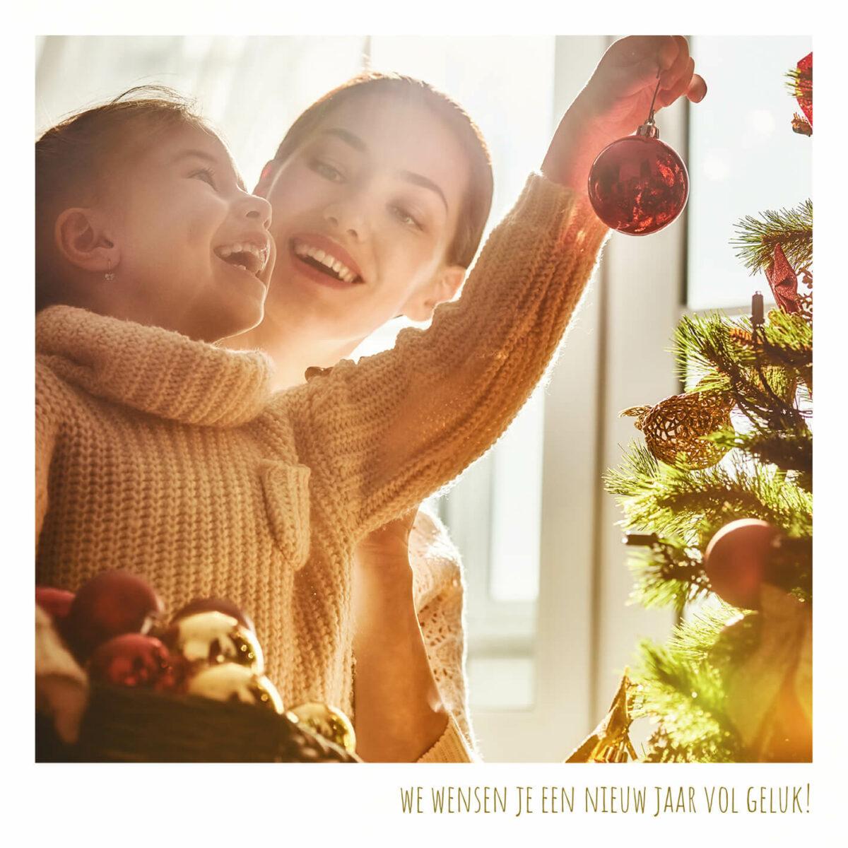 Vierkante Kerstkaart Foto Gezin Familie Kinderen Kerstwens