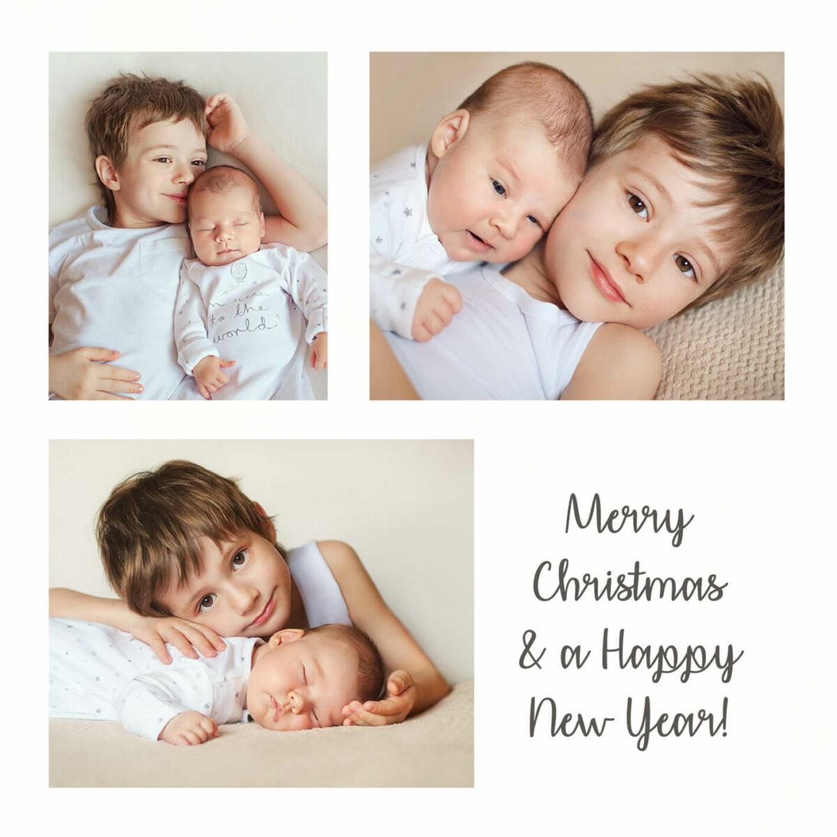 Vierkante Kerstkaart Foto Collage Gezin Familie Kinderen Kerstwens Wens
