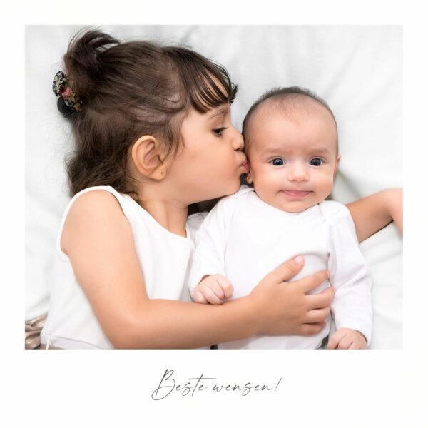 Vierkante Kerstkaart Foto Gezin Familie Kinderen Polaroid
