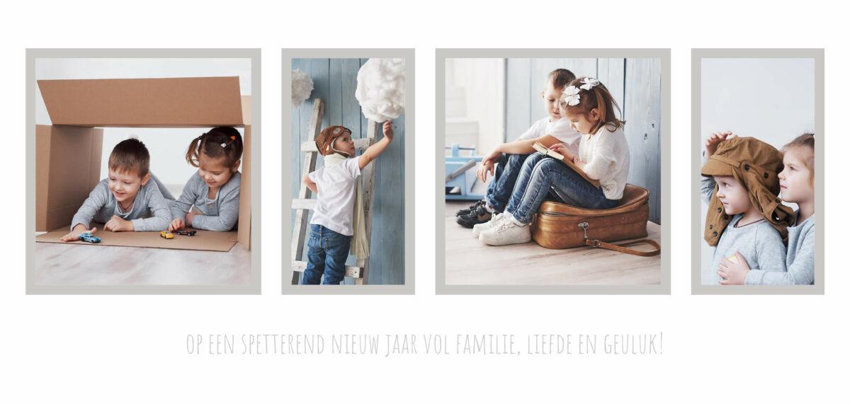 Liggende langwerpige Kerstkaart met vier foto's op een rij 4 Familie Gezin Kerst