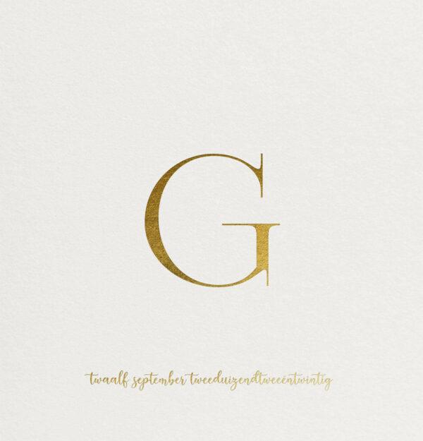 Geboortekaart Minimalistisch Simpel Eenvoud Klassiek Initiaal Multiloft Glanzend Goudfolie Hotfoil