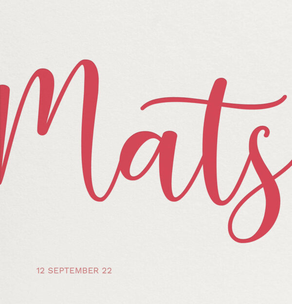 Geboortekaart Minimalistisch Simpel Eenvoud Koraal Rood Roze Multiloft Letterpress