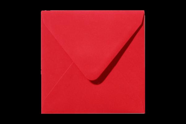 Koraalrode vierkant envelop Koraalrood puntklep