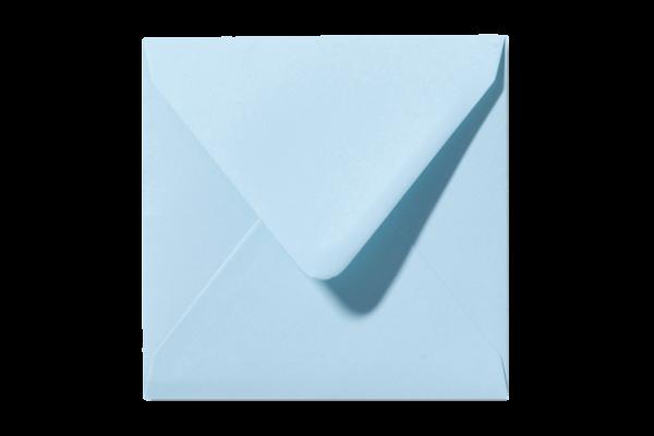 Zachtblauwe vierkant envelop Laguneblauw puntklep