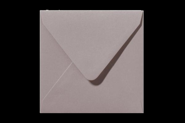 Blush Glanzende vierkant envelop Lichtroze puntklep Metallic Caramel