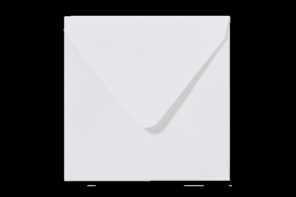 Witte Glanzende vierkant envelop puntklep Metallic Wit
