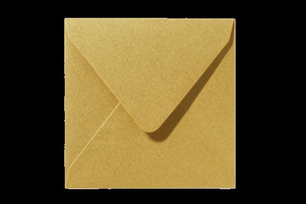 Gouden Glanzende vierkant envelop puntklep Metallic Goud